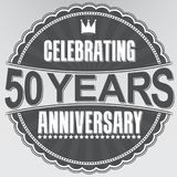 Celebrating 50 years anniversary retro label, vector illustratio. N Royalty Free Stock Photography