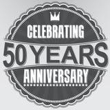 Celebrating 50 years anniversary retro label, vector illustratio. N Stock Illustration