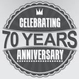 Celebrating 70 years anniversary retro label, vector illustratio. N Stock Photo
