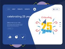 Celebrating 25 years Landing page website template design. Quality One Page celebrating 25 years Website Template Vector Eps, Modern Web Design with flat UI Royalty Free Stock Photography