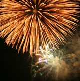 Celebration. Big Bright Gold Firework Stock Images