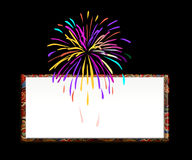 Celebration. A cracker being burst in a celebration with a white banner at the back Royalty Free Stock Photos