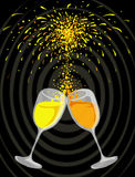 Celebration. A special kind of celebration with two glasses of drink and fireworks ( e.g. New Year Royalty Free Stock Photo