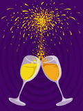 Celebration. A special kind of celebration with two glasses of drink and fireworks ( e.g. New Year Royalty Free Stock Image