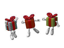 Celebration 3D. Dancing gifts on white background 3d Illustration Royalty Free Stock Photography