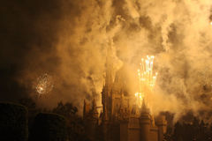 Celebration. Fireworks over smoke suronded castle Stock Photography