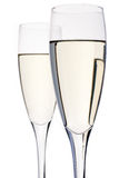 Celebration. Two champagne flutes stock photos