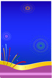 Celebration. Fire crackers bursting in a blue background Royalty Free Stock Image