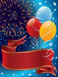 Celebration. Holiday decoration with fireworks, balloons and banner Stock Photo