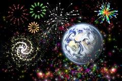Celebration. Postcard with scene of the firework Stock Photos
