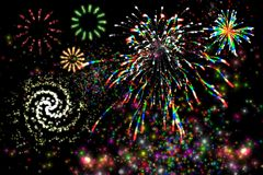 Celebration. Postcard with scene of the firework Royalty Free Stock Image