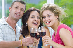 Celebration. Portrait of young happy attractive people having some wine Royalty Free Stock Images