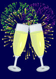 Celebration. Two glasses with champagne and salute on background vector illustration