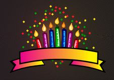 Candles and banner. A colorful illustration of candles and a banner Royalty Free Stock Photo