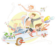 Celebration!. Vector illustration with joyful bride and groom and their friends ride in a limousine Royalty Free Stock Photos