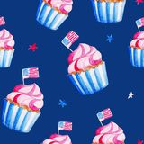 Celebration of American Independence Day. Watercolor cupcake pattern for 4th of July.  royalty free illustration