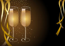 Celebration Or Anniversary Concept. Two glasses of champagne for New year celebration or wedding concept theme Stock Photo