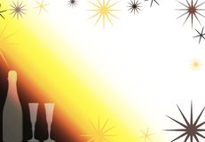 Celebration background 1. Champagne or wine bottle with two glasses Royalty Free Stock Photos