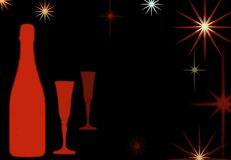 Celebration background 2. Champange or wine bottle with flutes and stars Stock Photo
