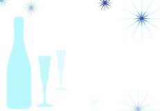 Celebration background 3. Champagne or wine bottle with flutes Royalty Free Stock Images