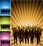 Celebration Background. An illustrated background with a set of four images having silhouettes of celebrating people Stock Photos