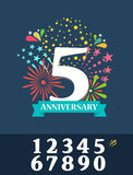 Celebration background and Anniversary fireworks. Additional set. Of numbers. Vector Illstration.  on blue Royalty Free Stock Photos