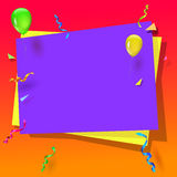 Celebration background with balloons. Serpentine and confetti. Bright banner with festive elements. Gorgeous background for greetings, greeting cards Royalty Free Stock Images