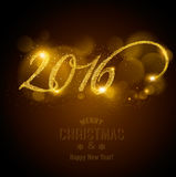 Celebration background with a beautiful gold 2016. Vector royalty free illustration