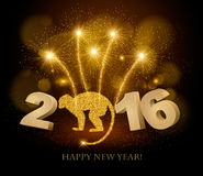 Celebration background with a beautiful gold 2016. Stock Photo