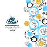 Celebration background with blue, golden and black circles. royalty free illustration
