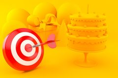 Celebration background with bull`s eye. In orange color. 3d illustration Royalty Free Stock Photography