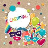 Celebration background with carnival stickers and Royalty Free Stock Photos