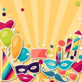 Celebration background with carnival stickers and Stock Image