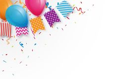 Celebration background with colorful bunting flags and balloons Royalty Free Stock Photos