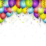 Celebration  background with colorful confetti, balloons and ribbons. Happy Birthday greeting card Stock Image