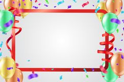Celebration background with colorful confetti, ribbons and ballo. Ons. Vector Illustration with confetti. Vector design Royalty Free Stock Photo