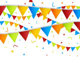 Celebration background with confetti and colorful flags. Royalty Free Stock Photography