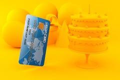 Celebration background with credit card. In orange color. 3d illustration Stock Image