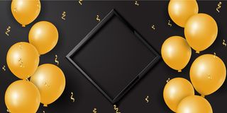 Celebration background with 3d golden balloons and serpentine and empty space. Vector stock illustration