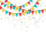 Celebration Background. Festive celebration background with buntings and confetti. Great for birthday designs Royalty Free Stock Photography