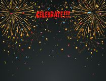 Celebration background with fireworks and colorful confetti. Illustration of Celebration background with fireworks and colorful confetti Royalty Free Stock Image
