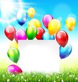 Celebration background with frame balloons grass lawn and sunlig. Celebration background with paper frame balloons grass lawn and sunlight on sky background Stock Photography