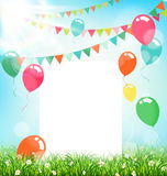 Celebration background with frame buntings air balls grass and s Stock Photos