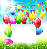 Celebration background with frame buntings balloons grass lawn c. Celebration background with paper frame buntings balloons grass lawn confetti and sunlight on Royalty Free Stock Images