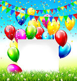 Celebration background with frame buntings balloons grass lawn a. Celebration background with paper frame buntings balloons grass lawn and confetti on sky Royalty Free Stock Photos