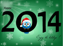 2014 celebration background. With funny blue bird Stock Image