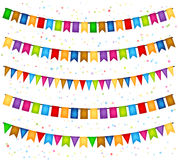Celebration background with garlands of flags stock illustration