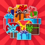 Celebration background with gift boxes. vector illustration