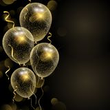 Celebration background with glittery gold balloons. And streamers stock illustration