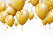 Celebration background with gold confetti and balloons. Illustration of  Celebration background with gold confetti and balloons Royalty Free Stock Photos